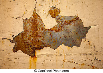 Metal wall with corrosion