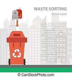 Metal waste sorting flat concept.
