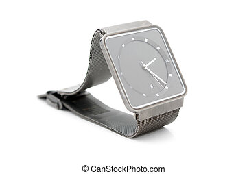 Metal watch isolated on white