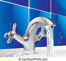 metal water tap - shiny metal tap with running water