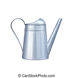 Metal watering-can isolated on white background