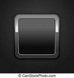 Metal web button - Dark gray background metal perforation ...