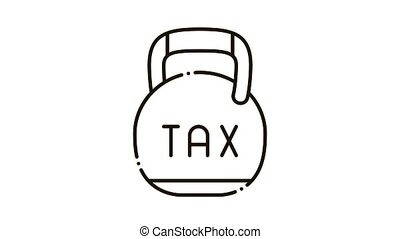 Metal Weight Tax Icon Animation. black Metal Weight Tax animated icon on white background
