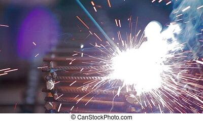 Metal welding Close up Shot