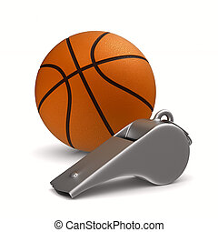 Metal whistle and basketball ball on white background....