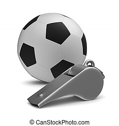 Metal whistle and soccer ball on white background. Isolated...