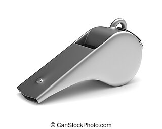 Metal whistle on white background. Isolated 3D illustration