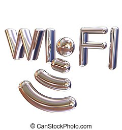 Metal WiFi symbol. 3d illustration