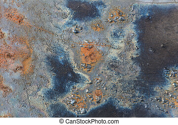 rust - metal with blue and orange rust