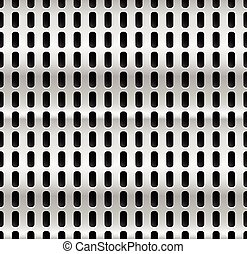 Metal with dimples, holes. Punched, perforated metal background. Repeatable. (metallic gradient)