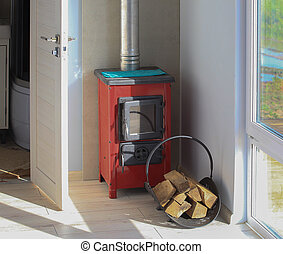 Metal wood stove in cottage