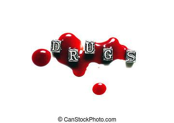 Metal Word drugs in drops of blood