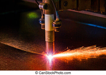 Metal Work 3 - Sheet metal cutting machine on industrial...