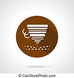 Metal work piece cutting flat round vector icon - Abstract...