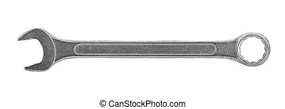 Metal wrench isolated on white background