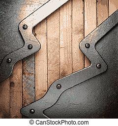 metal, y, madera, plano de fondo