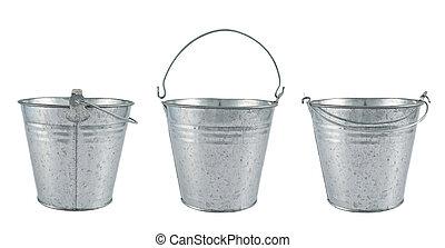 Metal zinc bucket isolated over white background, set of...