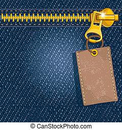 Metal zipper on denim background - Metal zipper with label...