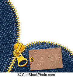 Metal zipper with label on denim background