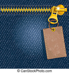 Metal zipper with label on denim background