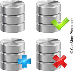 metalen, databank, iconen, vrijstaand, op wit, achtergrond.