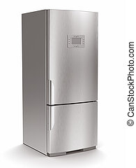 metalen, koelkast, op wit, vrijstaand, achtergrond.