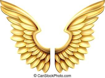 metalen vleugels, goud