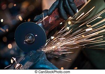 metalen werktuig, holle weg, closeup
