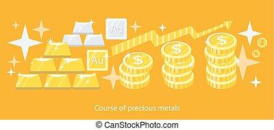 metales, diseño, plano, precioso, curso