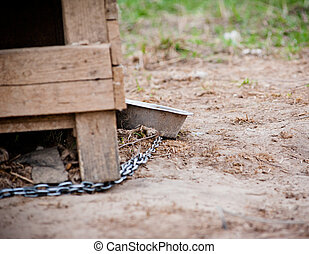 metalic bowl, chain and doghouse closeup shot