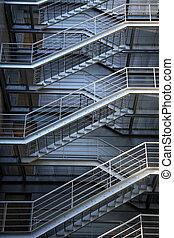 metalic, escalier, évacuation