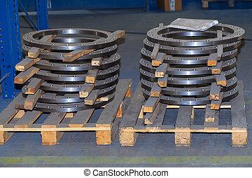 metalic, fond, cercle, industriel, parties