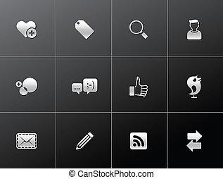 metalic, iconos, -, red, social