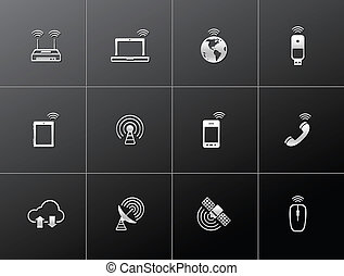 Metalic Icons - Wireless - Wireless technology icon series...