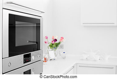 metalic microwave - Microwave in bright white kitchen