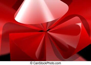 metaliczny, korkociąg, czerwony