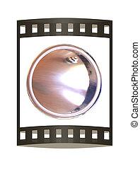 Metall button. 3d illustration. The film strip.