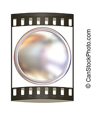 Metall button. The film strip
