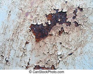 metall, gammal, bakgrund, med, spricka, och, rosta, struktur