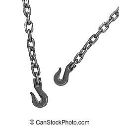 metall, hake, hängande, kedja