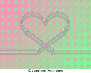 Metall heart. - Metall heart on the green-pink background. ...
