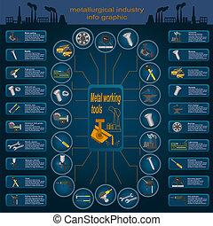 metall, jogo, ferramentas, elementos