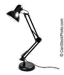 metall, lampe, schwarz, freigestellt, schreibtisch