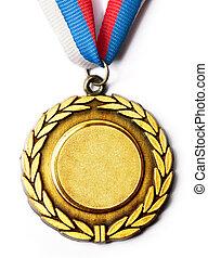 metall, medalj, med, tricolor, band
