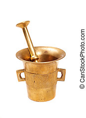 Metall mortar with a pestle