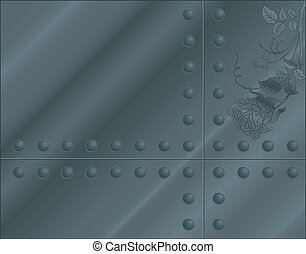 Metall plate with flower and rivets, element for design, vector illustration