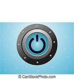 metall power blue button vecotr eps