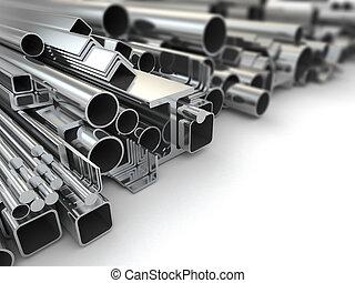 metall, profil, und, stahl, pipes., hintergrund., 3d