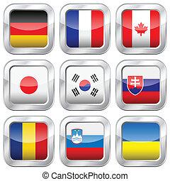 metall, quadrat, national, flaggen, 3