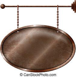 metall, rostiges , tafel, elliptisch
